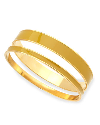 Two-Piece Channel Bangle Set, Yellow/Golden