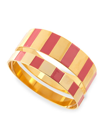 Enamel Step Bangles in Pink/Golden, Set of 2