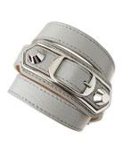 Classic Leather Wrap Bracelet, Gray