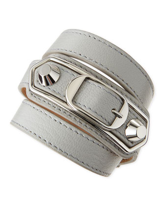 Classic Leather Wrap Bracelet, Gray