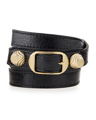 Arena Leather Wrap Bracelet, Black