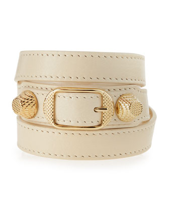 Arena Leather Wrap Bracelet, White