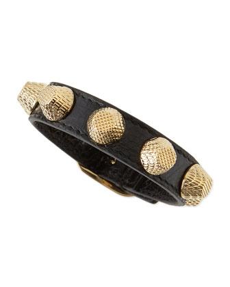 Leather Golden Stud Bracelet, Black