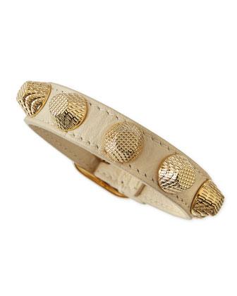 Leather Golden Stud Bracelet, White