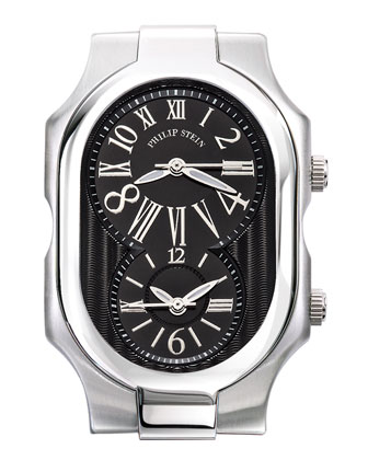 Large Signature Watch with Black Dial & 20mm Stainless Steel Bracelet
