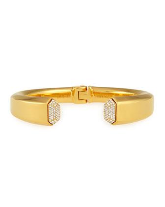 Obsidia Crystal Hinge Bracelet, Gold Plate