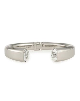 Obsidia Howlite Hinge Bracelet, Silver Plate