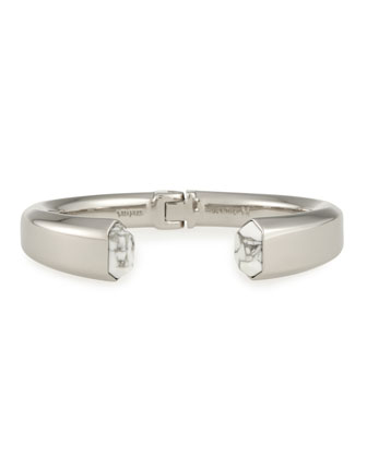 Obsedia White Howlite Hinge Bracelet, Silver Plate