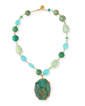 Beaded Agate Pendant Necklace, Aqua