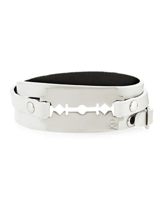 Leather Razor-Blade Wrap Bracelet, Ivory