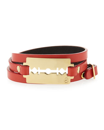 Leather Razor-Blade Wrap Bracelet, Red