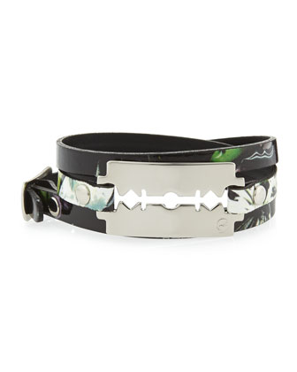 Floral-Print Leather Razor-Blade Wrap Bracelet