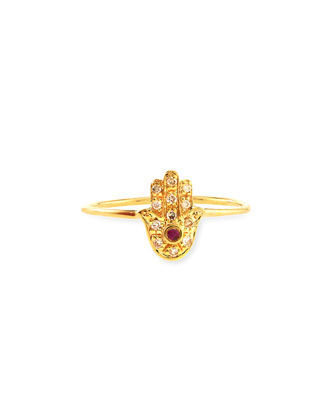 Yellow Gold Baby Hamsa Ring