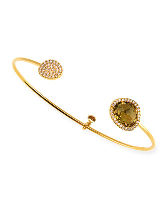 Olive-Facet Gold Plated Pinch Bracelet