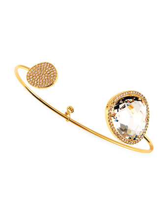 Clear, Large Facet Gold Plated Pinch Bracelet