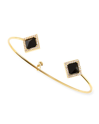 Black Crystal Square Gold Plated Pinch Bracelet