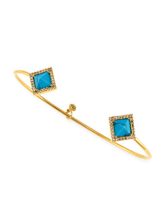 Turquoise Glass Square Gold Plated Pinch Bracelet