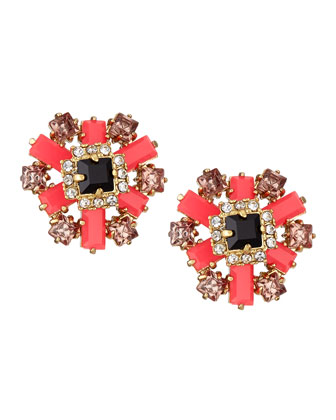 space age floral stud earrings