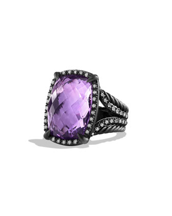 Chatelaine Ring with Amethyst and Gray Diamonds