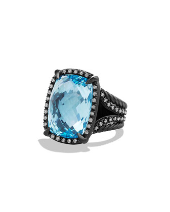 Chatelaine Ring with Blue Topaz and Gray Diamonds