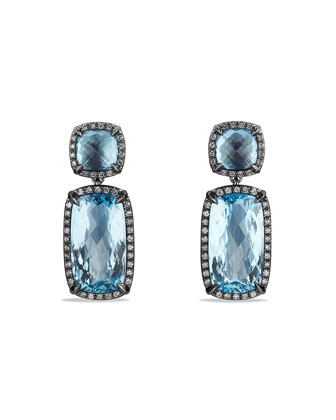 Chatelaine Drop Earrings with Blue Topaz and Gray Diamonds