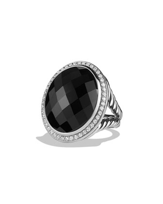 Oval Ring with Onyx and Diamonds