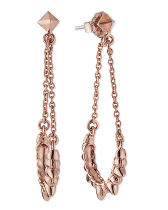 Tribal Spike Chain Drop Earrings, Rose Gold-Plate