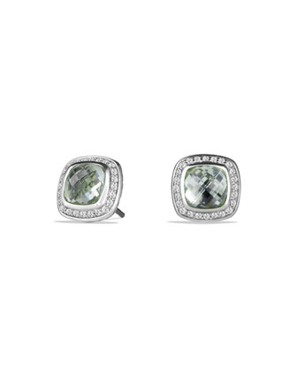 Albion Stud Earrings with Prasiolite and Diamonds