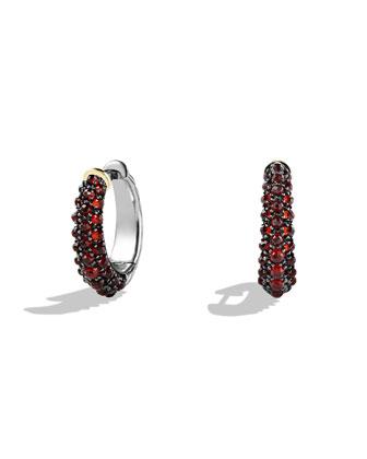 Hoop Earrings with Garnet and Gold