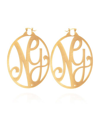 Monogram Large Signature Hoop Earrings, Yellow Gold Vermeil