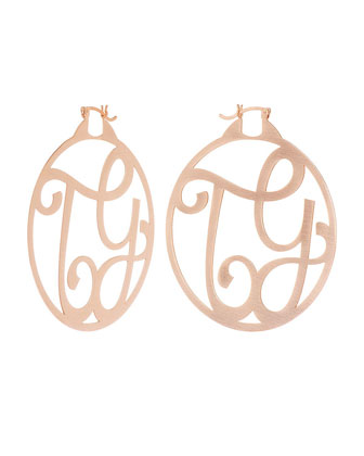 Monogram Large Signature Hoop Earrings, Rose Gold Vermeil