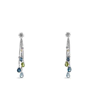 Capri Earrings with Hampton Blue Topaz, Blue Topaz, Peridot, and Gold