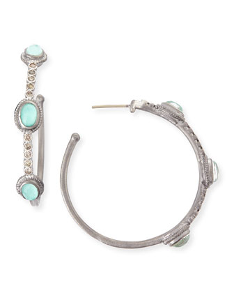 New World Green Turquoise & Diamond Hoop Earrings