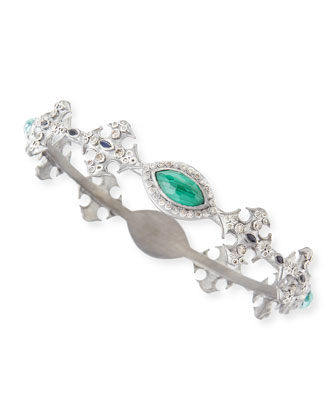 New World Malachite Blue Topaz Cross Bangle