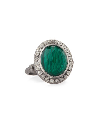 New World Malachite Blue Topaz & Diamond Ring