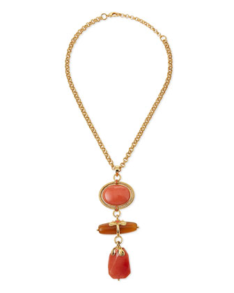 Chunky Multi-Stone Pendant Necklace, Coral