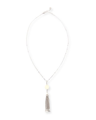 Pearl & Cubic Zirconia Tassel Necklace