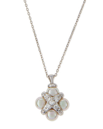 Pearl & CZ Cross Pendant Necklace