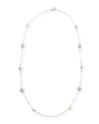 Pearl & Cubic Zirconia Station Necklace