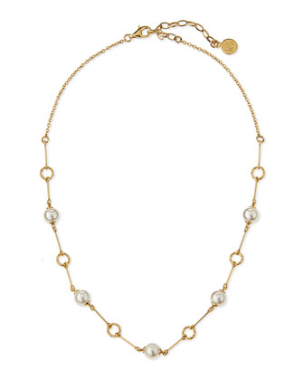 Pearl Station Gold Vermeil Necklace