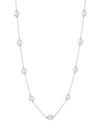 Silver Pearl-Station Long Necklace