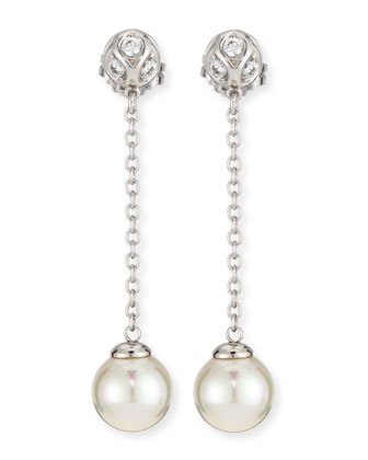 Pearl & CZ Silver Chain Drop Earrings