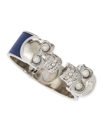 Leather Double Skull Cuff, Blue