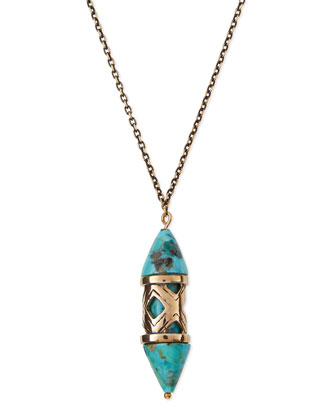 Turquoise & Bronze Pendant Necklace