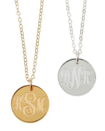 Providence Mirrored Acrylic Reverse Monogram Pendant Necklace