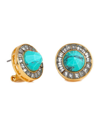 Crystal Token Stud Earrings