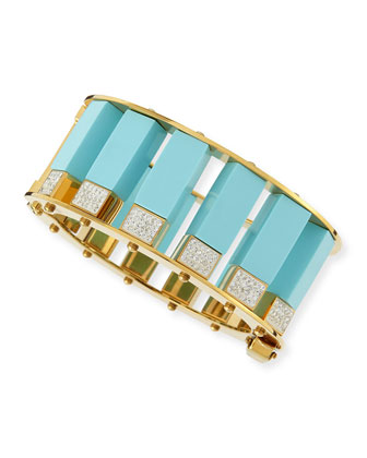 Turquoise & Crystal Column Bracelet