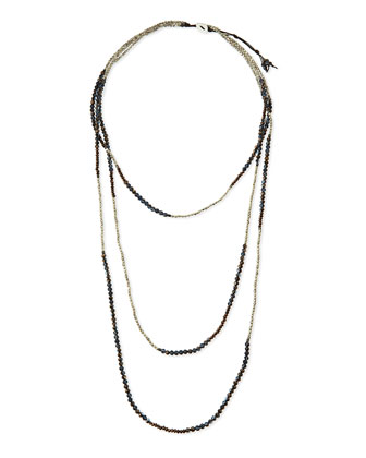 Long Multi-Strand Czech Crystal Necklace, Gunmetal