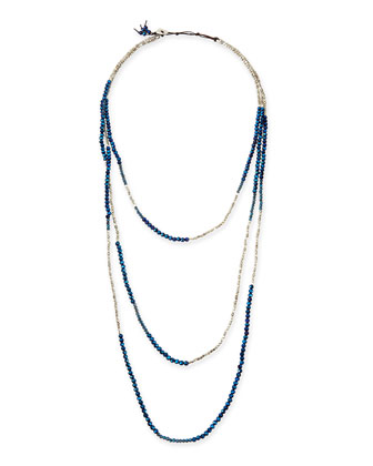 Long Multi-Strand Czech Crystal Necklace, Silver