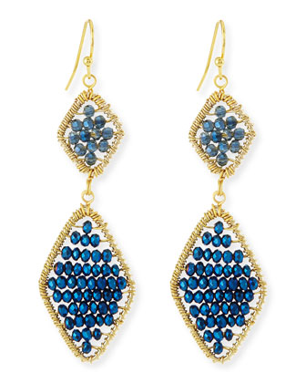 Beaded Crystal Double-Drop Earrings
